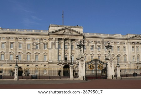 Buckingham palace - Queen's residence in London without tourists - stock photo