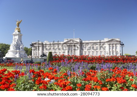 Buckingham Palace With Flowers Blooming In The Queen's Garden, London, England - stock photo