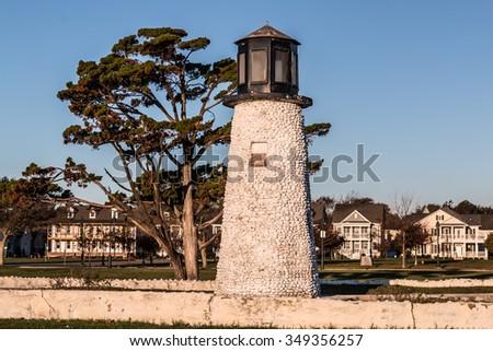 Buckroe Beach lighthouse in Hampton, Virginia in the morning light.  - stock photo