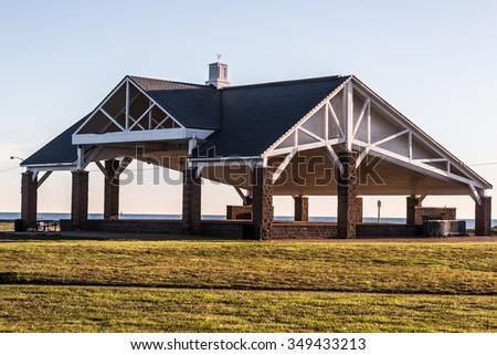 Buckroe Beach Pavilion, empty in the early morning. - stock photo