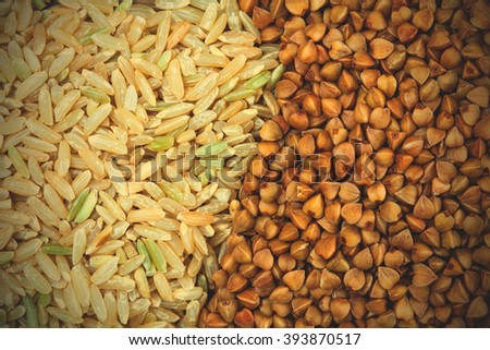 buckwheat and rice cereal close up. instagram image filter retro style - stock photo