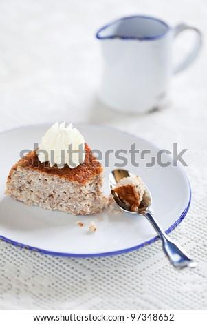 Buckwheat cottage cheese casserole slice (Krupenik), selective focus - stock photo
