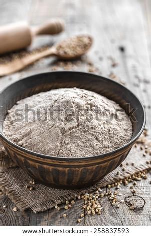 Buckwheat flour - stock photo