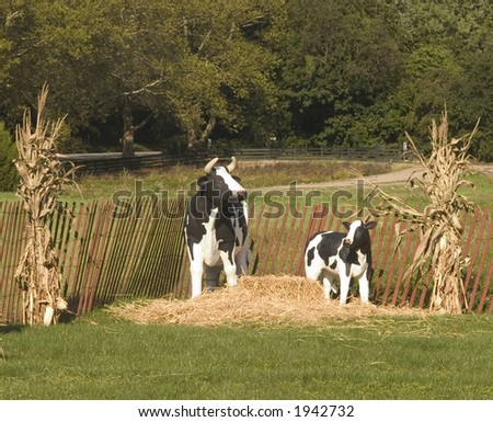 Bucolic Pasture Scene with Cows which are actually display cows, statues. - stock photo