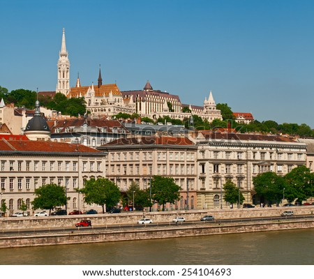 Buda Castle, landmark of old city Budapest. - stock photo