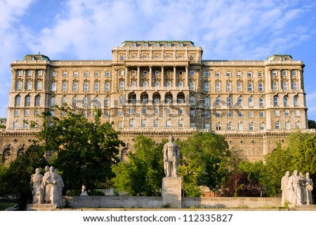 Buda Castle (Royal Palace) rear view, 18th century Baroque style facade in Budapest, Hungary. - stock photo