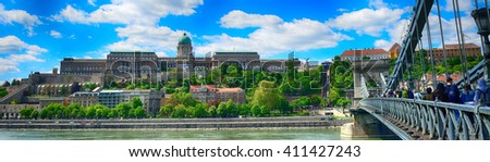 BUDAPEST - APRIL 26 :The Royal Castle and the Chain Bridge at 26 April, 2016 in Budapest, Hungary. Budapest is listed by UNESCO as a World Heritage site. - stock photo
