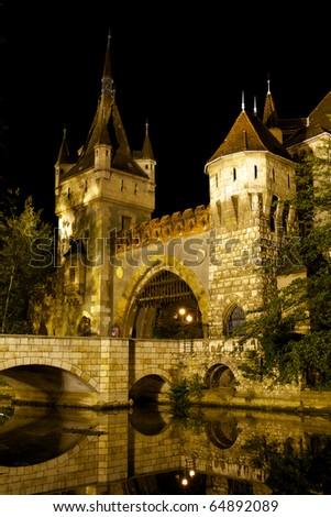 Budapest by night / Vajdahunyad Castle - stock photo