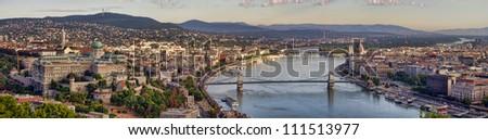 Budapest city panorama with Danube view, Hungary - stock photo