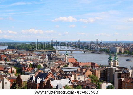 Budapest City View, with Margaret Bridge and Margaret Island, and Danube River - stock photo