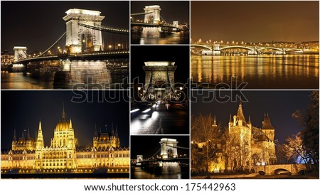 Budapest collection of night shoots - Set of Budapestan touristic attractions on Danube - The Hungarian Parliament Building, Vajdahunyad castle and Szechenyi Chain Bridge details - stock photo
