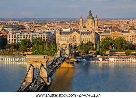Budapest - Danube River embankment panorama. Danube River embankment in Budapest is World Heritage Site by UNESCO - stock photo