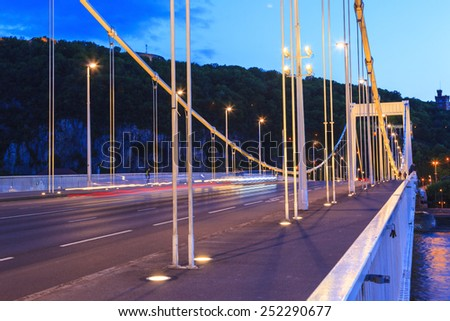 Budapest Elisabeth Bridge over Denude by night  - stock photo