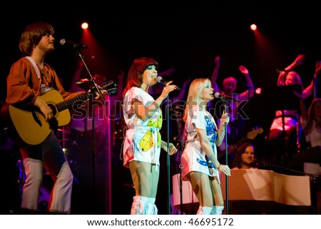 BUDAPEST - FEBRUARY 13: Members of the ABBA The Show  perform on stage at Sportarena on February 13, 2010 in Budapest, Hungary. - stock photo