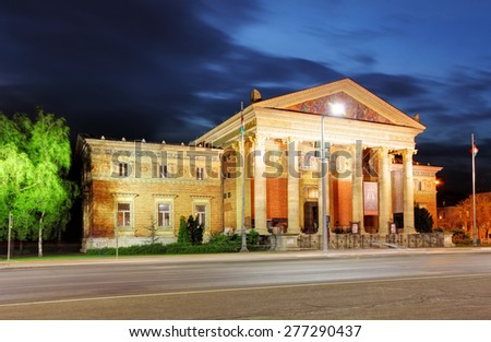 Budapest, Heroes square at night - stock photo
