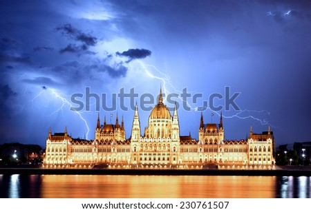 Budapest - Hungarian parliament.with reflection in Danube - stock photo