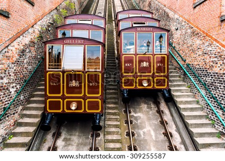 Budapest, Hungary- April 17,2014: Cable Car on the Castle Hill. Budapest, Hungary  - stock photo