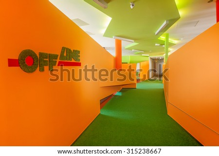 BUDAPEST, HUNGARY - AUG 26, 2015:  Modern interior of an office  area's corridor in a business center - stock photo
