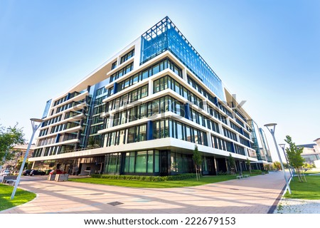 Budapest, Hungary - August 1, 2013: Office building in modern Budapest area, Hungary - stock photo