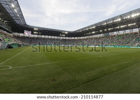 BUDAPEST, HUNGARY - AUGUST 10, 2014: The new stadiom of FTC during Ferencvaros vs. Chelsea stadium opening football match at Groupama Arena - stock photo