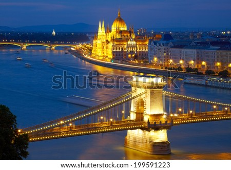 Budapest, Hungary. Chain Bridge and the Parliament - stock photo