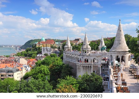 Budapest, Hungary - cityscape with Danube river and Fisherman's Bastion. - stock photo