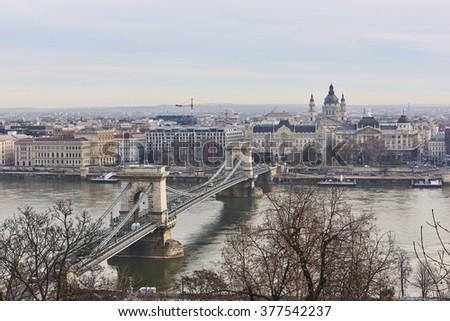 BUDAPEST, HUNGARY - FEBRUARY 02: High angle shot of Szechenyi Chain Bridge accross Danube River. February 02, 2016 in Budapest. - stock photo