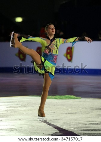 BUDAPEST, HUNGARY - JANUARY 19, 2014: Adelina SOTNIKOVA of Russia performs during the exhibition gala at ISU European Figure Skating Championship in Syma Hall Arena. - stock photo