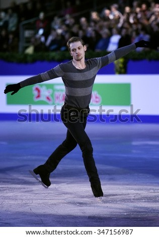 BUDAPEST, HUNGARY - JANUARY 19, 2014: Sergei VORONOV performs during the exhibition gala at ISU European Figure Skating Championship in Syma Hall Arena. - stock photo