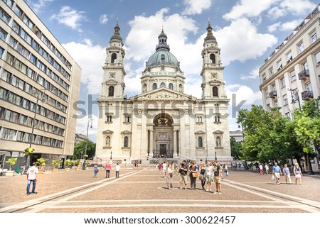 BUDAPEST, HUNGARY, JULY 9, 2015: Exterior shot of  St. Stephen's Basilica, a Roman Catholic basilica in Budapest, Hungary. It is named in honour of Stephen, the first King of Hungary. - stock photo
