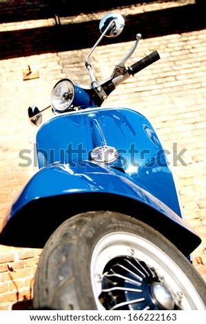 BUDAPEST, HUNGARY - JULY 09: Old Vespa scooter parked in a street in Budapest, Hungary on July 09, 2013 - stock photo