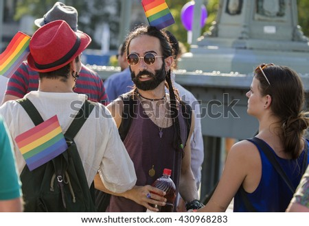 BUDAPEST, HUNGARY - JULY 11.Unidentified people took part in the 20. Budapest Gay Pride parade to support the LGBT (lesbian, gay, bisexual, and transgender) rights on July 11 2015 in Budapest, Hungary - stock photo
