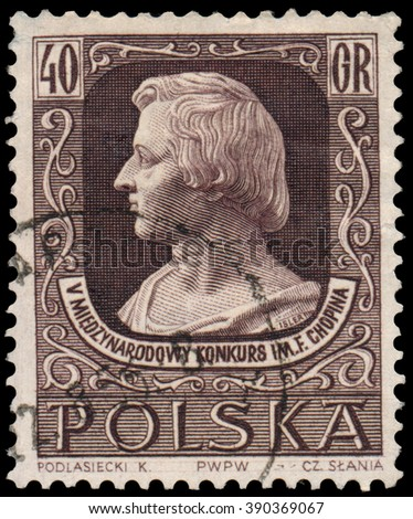 BUDAPEST, HUNGARY - 12 march 2016: a stamp printed by Poland shows image portrait of famous Polish musician and composer Frederic Chopin. 5th International Competition of Chopin's Music, circa 1955 - stock photo