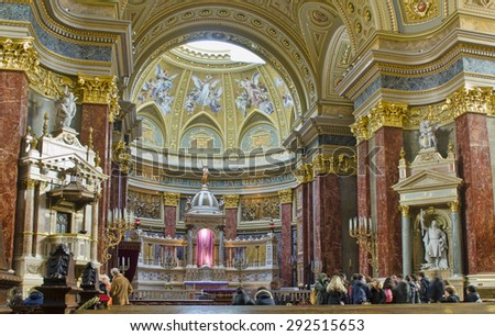 BUDAPEST, HUNGARY - MARCH 27: interior of St. Stephen's Basilica on March 27, 2015 in Budapest, Hungary. St. Stephen's Basilica is the 3rd largest church in Hungary. - stock photo