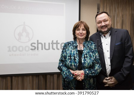 BUDAPEST, HUNGARY, MARCH 2,2016: Judit Endrei (l), famous hungarian television presenter on the announcing ceremony of 1000Ut Travel agency in Medosz Hotel. - stock photo