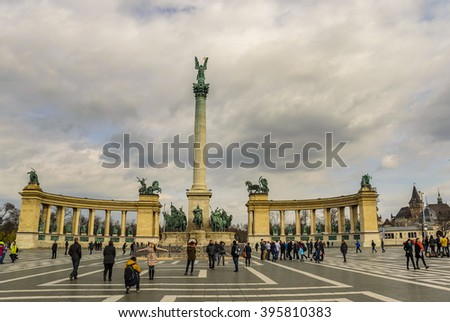 BUDAPEST - HUNGARY, 19 MARCH 2016: The historic Heroes Square (Hosok tere) in Budapest, Hungary - stock photo