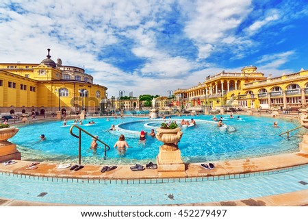 BUDAPEST, HUNGARY- MAY 05,2016: Courtyard of Szechenyi Baths, Hungarian thermal bath complex and spa treatments. - stock photo