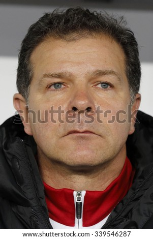 BUDAPEST, HUNGARY - NOVEMBER 15, 2015: Hungarian co- coach, the German football legend Andreas Moller during Hungary vs. Norway UEFA Euro 2016 qualifier play-off football match at Groupama Arena. - stock photo