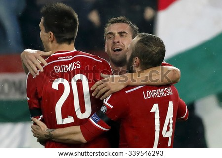 BUDAPEST, HUNGARY - NOVEMBER 15, 2015: Hungarian Daniel Bode celebrates with his teammates the second goal during Hungary vs. Norway UEFA Euro 2016 qualifier play-off football match at Groupama Arena. - stock photo
