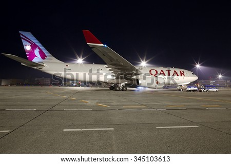 Budapest, Hungary - November 15: Qatar Cargo Airbus A330 cargo plane at Budapest Airport, November 15th 2013. Qatar Cargo is the freight branch of Qatar Airways. - stock photo