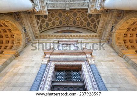 BUDAPEST, HUNGARY - NOVEMBER, 27 2014: Saint Stephen's Basilica in Budapest, Hungary. Roman Catholic basilica in Budapest, Hungary, named in honor of Stephen, the first King of Hungary. - stock photo
