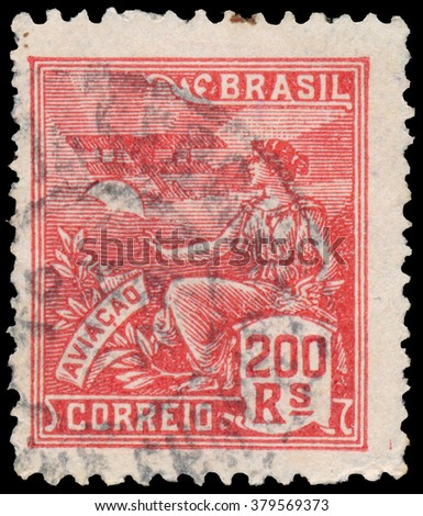 BUDAPEST, HUNGARY - 14 October 2015: a stamp printed in the Brazil shows woman as allegory aviation, circa 1921 - stock photo