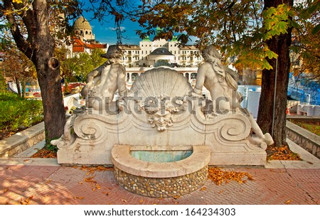 BUDAPEST, HUNGARY - 23 OCTOBER, 2013: Gellert thermal baths in Budapest. Gellert Medicinal Bath is the most exclusive bath in Budapest. The Gellert Bath and Hotel was opened in 1918. - stock photo