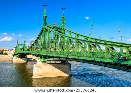 Budapest, Hungary. Szabadsag, Liberty Bridge connects Buda and Pest across the River Danube, built in 1896. - stock photo