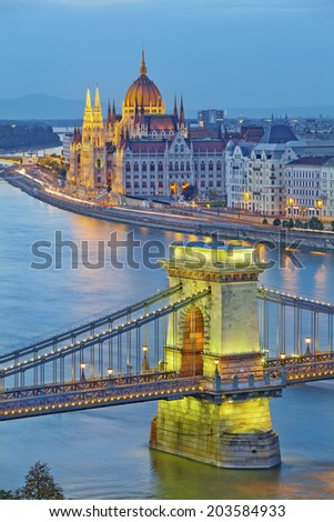 Budapest. Image of hungarian parliament and Chain Bridge in Budapest during twilight blue hour. - stock photo