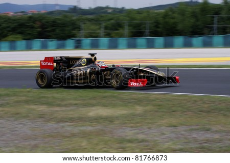 BUDAPEST - JULY 3: Lotus Renault F1 GP car on the Hungaroring race track at World Series by Renault on July 3, 2011 in Budapest, Hungary - stock photo