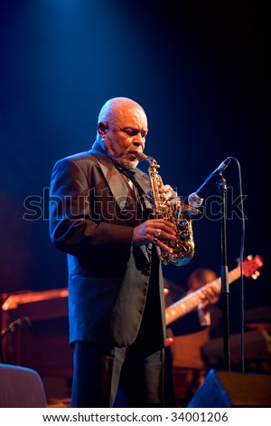 "BUDAPEST-JULY 16: Saxophonist from the ""B.B. King Band"" performs in concert at Sportarena  Budapest July 16, 2009 in Budapest, Hungary - stock photo"