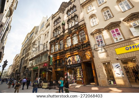 BUDAPEST MAY 4 2014: The newly renovated inner city in Budapest is a big attraction for tourists all over the world. Budapest's beauty shown through many centuries of architecture, Hungary.  - stock photo