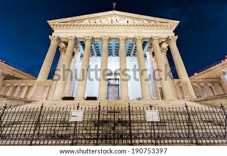 Budapest, Museum of Fine Arts in Budapest at night - stock photo