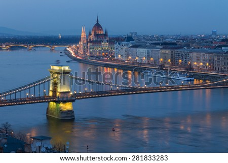 Budapest panorama, Chain Bridge in the background of the Parliament, Hungary - stock photo